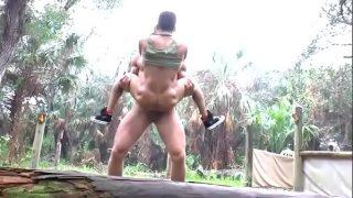 Muscle stud Landon Conrad fucks and manhandles tiny pretty boy Armond Rizzo outdoors